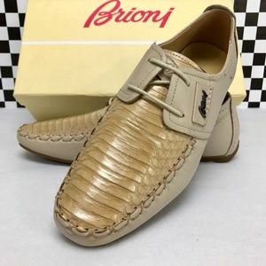 Brioni Shoes Lace Loafers Natural Python 41/8 New